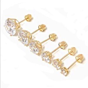Jewelry - 14k Solid Yellow Gold Cubic Zirconia Stud Earrings